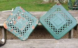 Set of Bunting Lattice Style Patio Chairs Lawn Garden Seat Back  Metal Antique