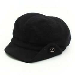 AUTHENTIC CHANEL COCO MARK BUTTON WOOL CASKET HAT BLACK GRADE AB USED - AT