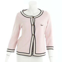 AUTHENTIC CHANEL LION BUTTON CASHMERE JACKET CARDIGAN PINK GRADE B USED - AT