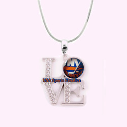 NHL - New York Islanders 925 Sterling Silver Team Love Necklace WRhinestones