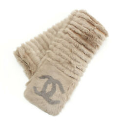 AUTHENTIC CHANEL ORYLAG FUR CASHMERE SCARF BEIGE GRADE S USED-AT