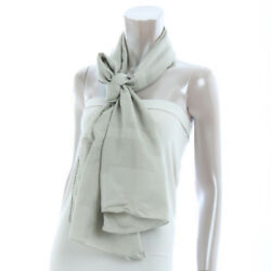 AUTHENTIC HERMES CASHMERE SILK SCARF H LOGO GREY GRADE B USED-AT