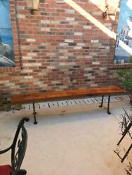 Mesquite and Wrought Iron Bench: 7.5' x 13