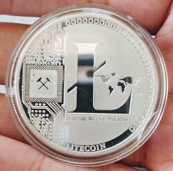 Physical Litecoin LTC High Polished Silver Plated In Collector Case $7.49