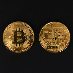 2x Gold Bitcoin Commemorative Round Collectors Coins Bit Coin Gold Plated $11.99