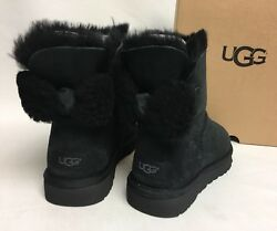 UGG Australia Black ARIELLE BAILEY FUR BOW SUEDE SHEEPSKIN BOOTS 1019652 sizes $119.99