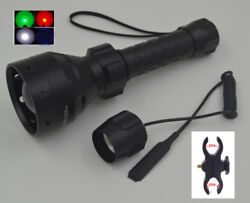 500 Yards 67mm Lens Zoomable Focus Cree Red Green Light LED Hunting Flashlight $44.99
