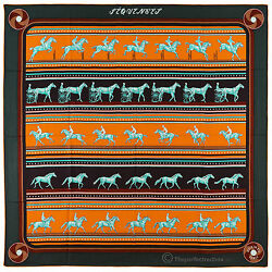 NEW Authentic Hermes Cashmere Silk Shawl SEQUENCES Green Orange 140