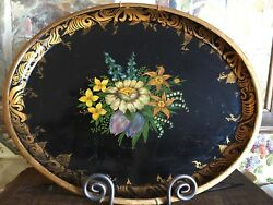 Antique Tole Tray Hand Painted Toleware Oval Black with Floral Gold Trim $325.00