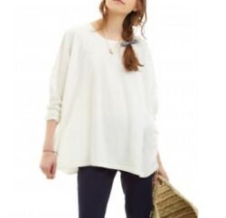 Cabbages & Roses Ivory Caro Sweater Jumper Size ML BNWT Boxy Shape Button Back