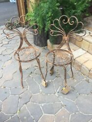 Set Of 2 Handmade Distressed Rusted Vintage Victorian Wrought Iron Garden Chair