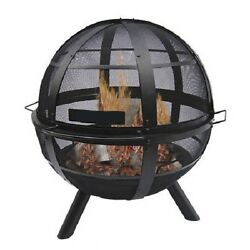 Fire Pit Screen Patio Ball Steel Bowl Cover Outdoor Wood Burning Portable Round