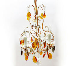 ANTIQUE Macaroni Beaded Italian CHANDELIER Vintage Gold amp; Silver Crystals $1575.00