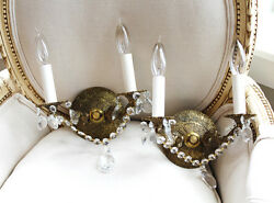 Antique Brass Pair Crystal Wall Sconces $425.00