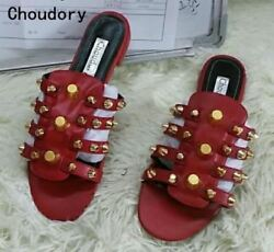 2017 Choudory Party Beach Dress Shoes Women High Quality Flat Studded Caged Flat