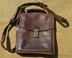 used vintage italian adpel man bag purse wallet soft leather aged with key