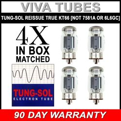 Brand New Tung Sol Reissue KT66 Plate Current Matched Quad 4 Vacuum Tubes $160.61