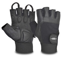 Men's Weight Lifting Fingerless Leather Padded Palm Bodybuilding Exercise Gloves GBP 4.59