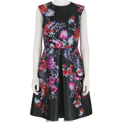 Giambattista Valli Slate Grey Floral Inverted Pleat Summer Dress IT42 UK10