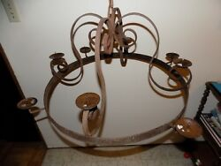 Vintage Iron Shabby Rusty Hanging Chandelier Candle Holder Hunting Cabin Light