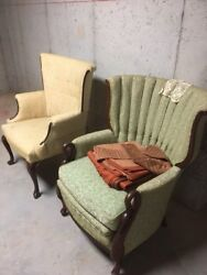 Vintage Queen Anne Wing Arm Chairs - Sold as Pair - Good Condition
