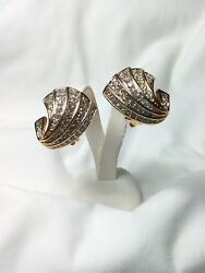 Nina Ricci Paris Vtg Gold Tone Large Wing Shaped Diamante Clip Earrings