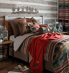 Rustic Western Southwestern Outdoors Cabin Inspired Comforter Set 5PC Backwoo...