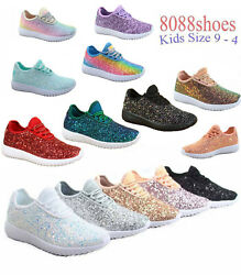 Youth Girl's Kid's Lace Up Glitter Jogger Sneaker Lace Up Shoes Size 9 - 4 NEW