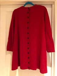 Cabbages & Roses Red Button Back Swing Jumper Dress Size S