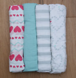 Aden Anais Baby Girl Swaddle Blanket White Pink amp; Aqua Hearts 44quot; x 44quot; $11.97