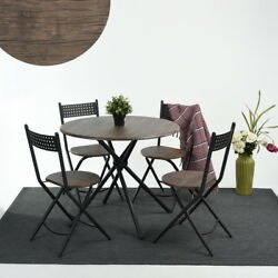 5PCS Retro Garden Chair & Table Wooden MDF Metal Dining Set 1 Table & 4 Chairs