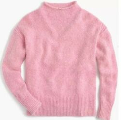 NWT J.Crew the 1988 Italian rollneck cashmere sweater marled pink H0748 XS $298