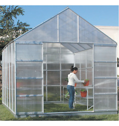 Big Green House Kit Hothouse Greenhouse Large Outdoor Building 4 Vents 10x12 ft