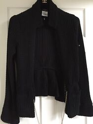 Chanel 11P NEW MOST WANTED Black Jacket CC Gold Chain CC gold button FR46- FR44