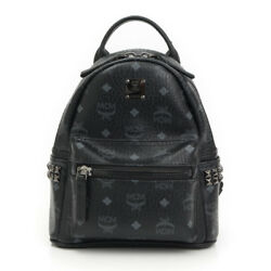 AUTHENTIC MCM LOGOGRAM STUDDED MINI LEATHER BACKPACK BLACK GRADE A USED -AT