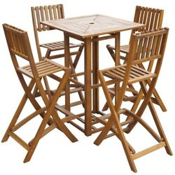 5pcs Wooden Outdoor Garden Patio Dining Square Table Folding Chair Set Bar Set