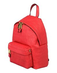 SS17 Moschino Couture Jeremy Scott Red LEATHER Backpack wAll Over Embossed Logo $495.00