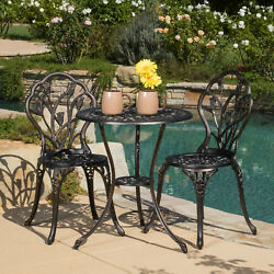Outdoor Bistro Furniture Set Chair Table Poolside Garden Brown Cast Aluminum New