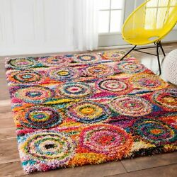 nuLOOM Contemporary Modern Geometric Shag Area Rug in Red Pink Blue Yellow $97.99