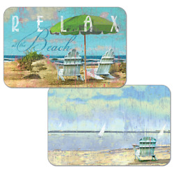 Set of 4 RELAX AT THE BEACH Adirondack Chairs Counter Art Reversible Placemats
