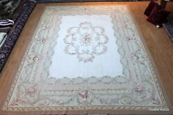 ON SALE 9'X12' HANDMADE FRENCH ABUSSON DESIGN BEIGE LIGHT BACKGROUND HAND WOVEN