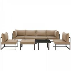 Modway EEI-1728-BRN-MOC-SET Fortuna 8 Piece Outdoor Patio Sectional Sofa Set In