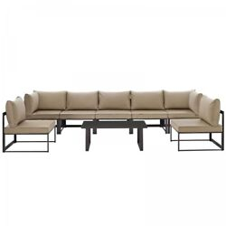 Modway EEI-1730-BRN-MOC-SET Fortuna 8 Piece Outdoor Patio Sectional Sofa Set In