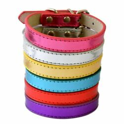 6Colors Big Sale Pu Leather Dog Collars For Small Dogs Adjustable Buckle Pet Pup $2.19