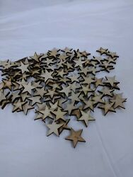 Crafting Supplies  100 pcs. Laser cut wooden stars 1.5