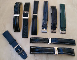 BREITLING LEATHER & RUBBER BAND BRACELET STRAP LOT OF 9 WITH BUCKLES