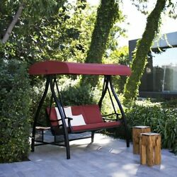 Red Three Person Patio Canopy Cushioned Swing Side Tables Outdoor Furniture Deck