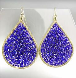 GORGEOUS Artisanal Sapphire Blue Crystals Gold Chandelier Earrings 15 $19.99