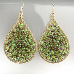 CHIC Artisanal Green Brown Turquoise Beads Gold Chandelier Earrings $15.19