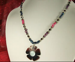 FRESHWATER Baroque PEARL Necklace STERLING Pink Purple Peacock MOP Flower Drop